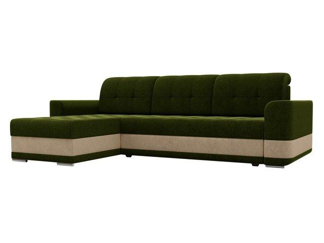 Угловой диван-кровать левый Честер, зеленый/микровельвет фото