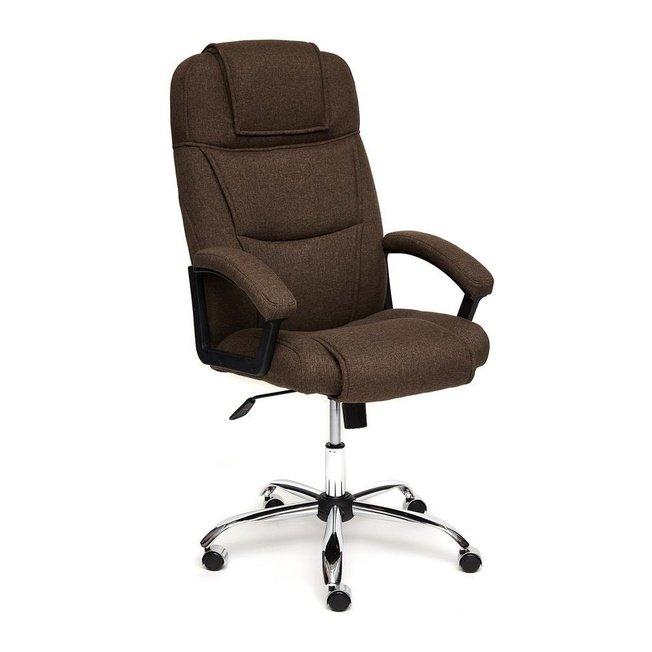 Кресло офисное Бергамо Bergamo хром, коричневая рогожка фото