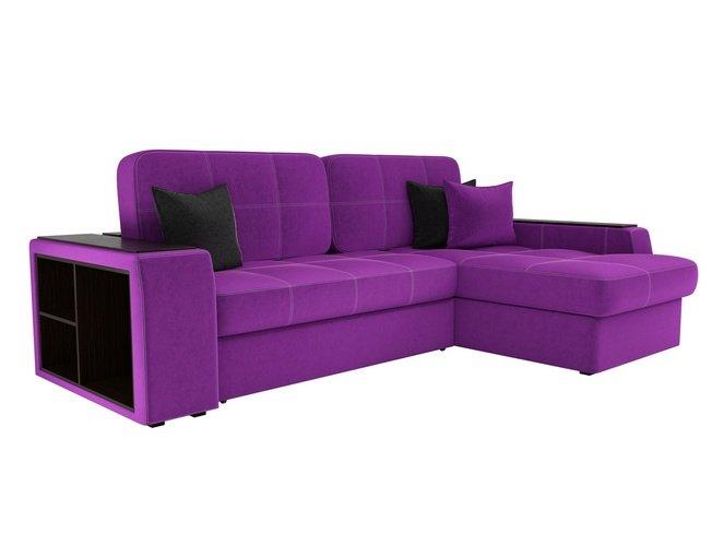 Угловой диван-кровать правый Брюссель, фиолетовый/микровельвет фото