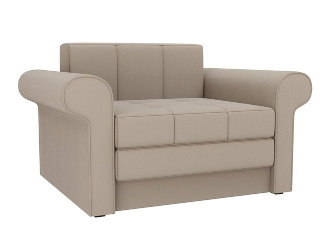 Кресло-кровать Берли, бежевое/рогожка фото