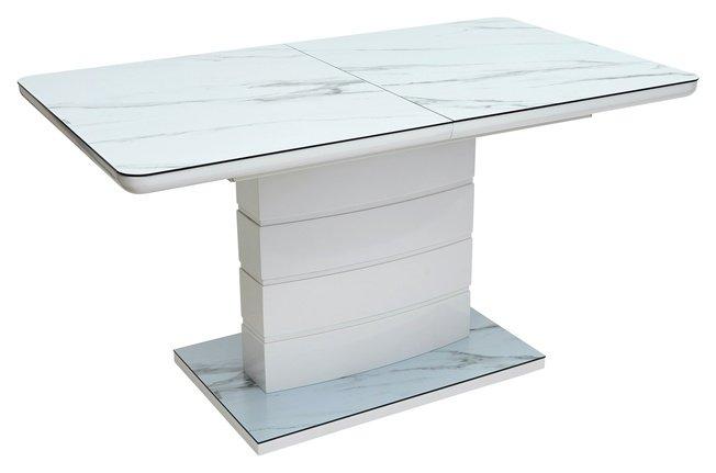 Стол обеденный раздвижной ALTA 140, GREY-WHITE MARBLE/ WHITE глазурованное стекло фото