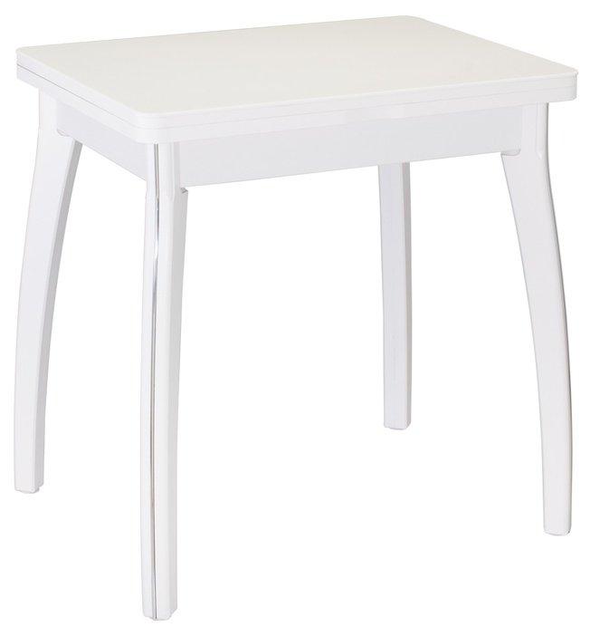 Стол обеденный раскладной Реал мини М-7, белый/белый камень фото