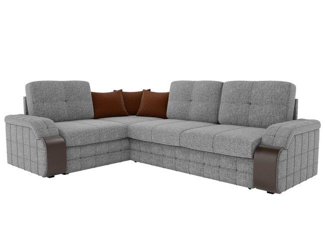 Угловой диван-кровать левый Николь, серый/коричневый/рогожка фото