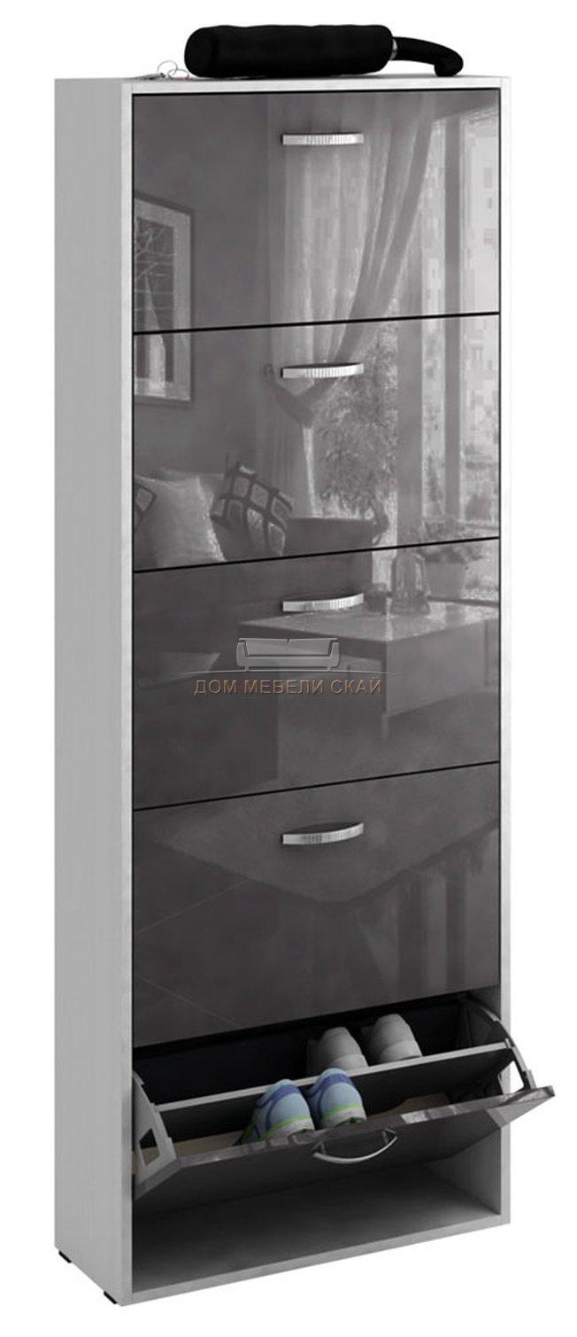 Обувница Милан-28 глянец, белый/серый - купить за 9000 руб. в Москве (арт. B10009154)   Дом мебели Скай