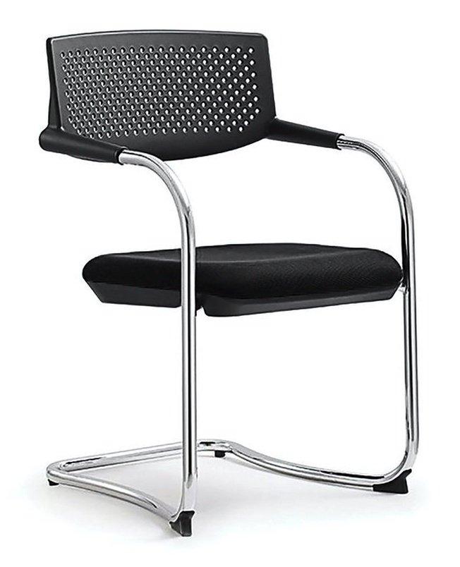 Кресло офисное Самба, black CF хром/черный пластик/черная ткань фото