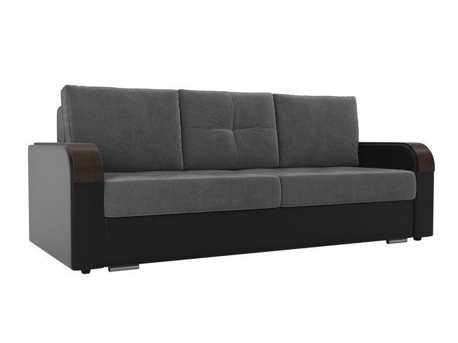 Диван-кровать Мейсон, серый/черный/велюр/экокожа фото