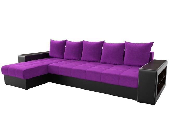 Угловой диван-кровать левый Дубай, фиолетовый/черный/микровельвет/экокожа фото