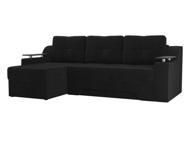 Угловой диван-кровать левый Сенатор, черный/велюр фото