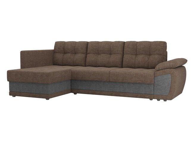 Угловой диван-кровать левый Нэстор прайм, коричневый/серый/рогожка фото