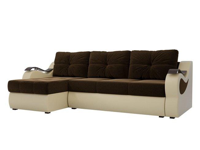 Угловой диван-кровать левый Меркурий, коричневый бежевый/микровельвет/экокожа фото
