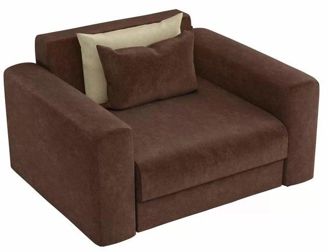 Кресло Мэдисон, коричневое/микровельвет фото