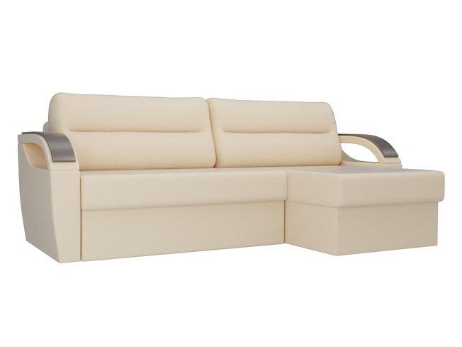 Угловой диван-кровать правый Форсайт, бежевый/экокожа фото