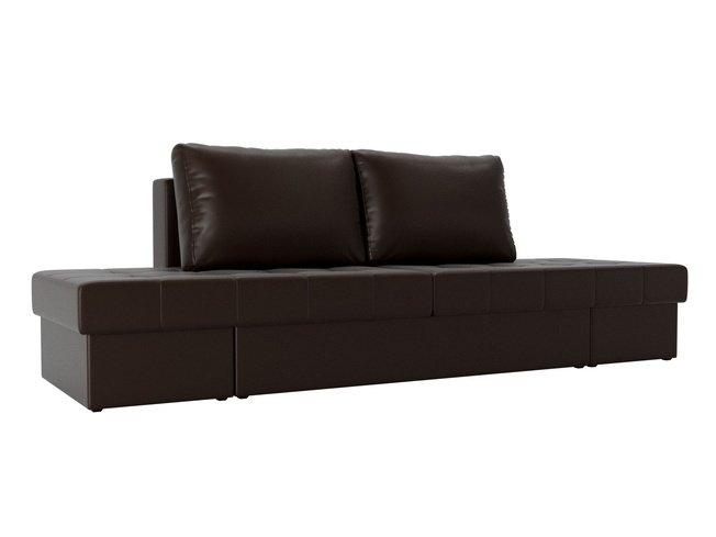Диван-кровать трансформер Сплит, коричневый/экокожа фото