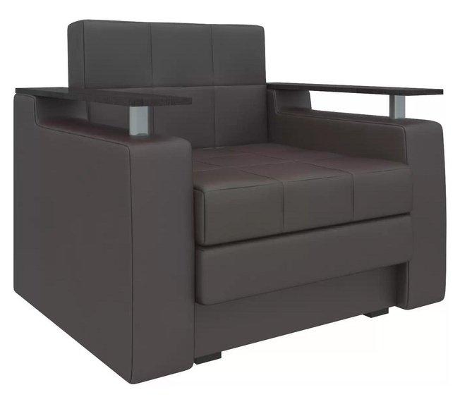 Кресло-кровать Мираж, коричневое/экокожа фото