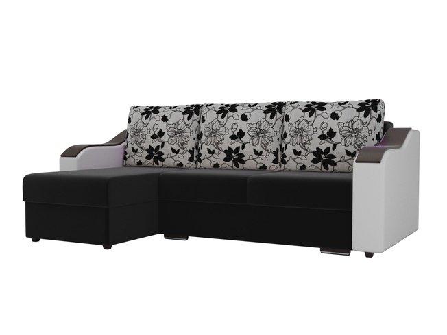 Угловой диван-кровать левый Монако, черный/белый/цветы/микровельвет/экокожа/рогожка фото