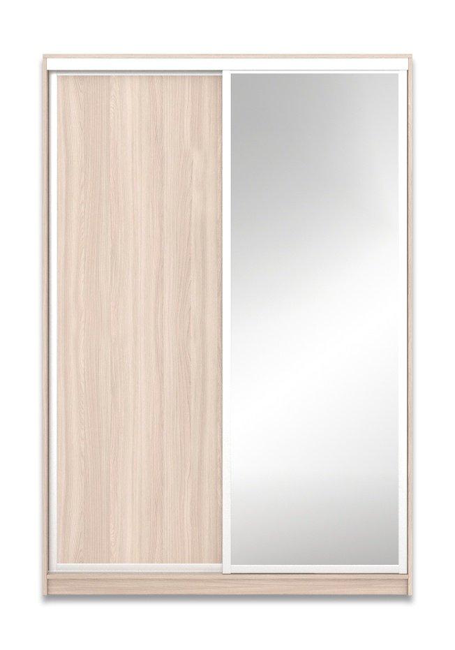 Шкаф-купе Юпитер 2-дверный с зеркалом 1600 (глубина 600, высота 2200), ясень светлый фото