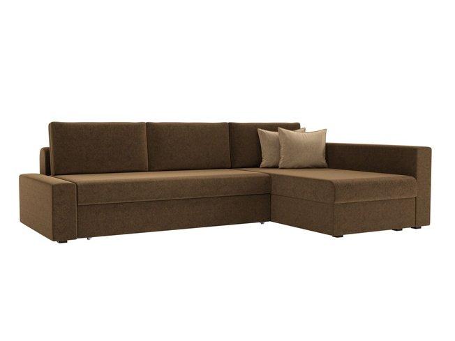 Угловой диван-кровать правый Версаль, коричневый/микровельвет фото