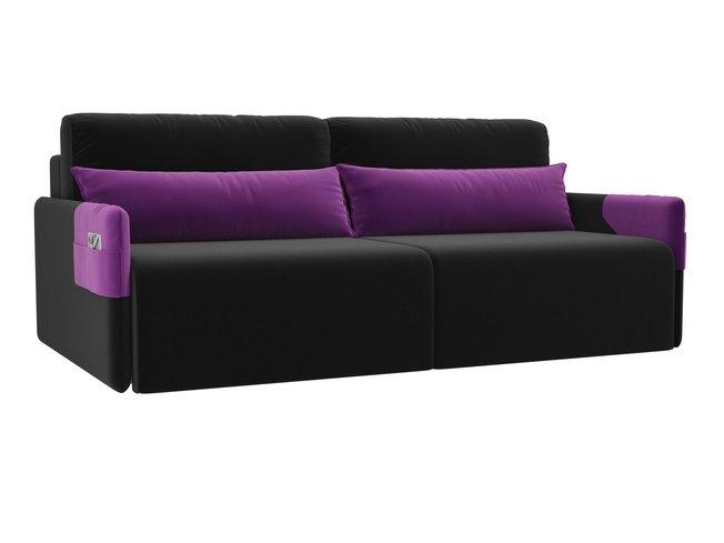 Диван-кровать Армада, черный/фиолетовый/микровельвет фото