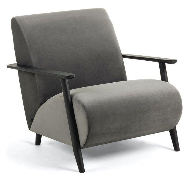 Кресло Marthan, серый бархат подлокотники черные фото