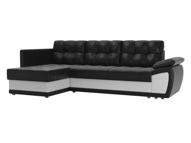 Угловой диван-кровать левый Нэстор прайм, черный/белый/экокожа фото