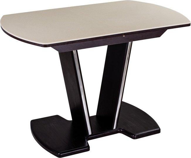 Стол обеденный раздвижной Румба малый ПО-3, венге/бежевый камень фото