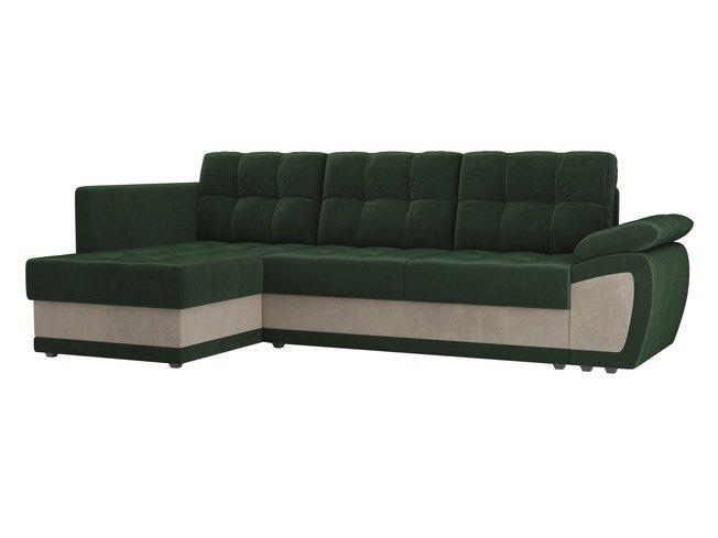 Угловой диван-кровать левый Нэстор прайм, зеленый/бежевый/велюр фото