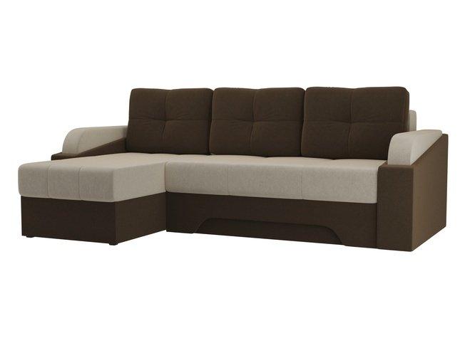 Угловой диван-кровать левый Панда, бежевый/коричневый/микровельвет фото