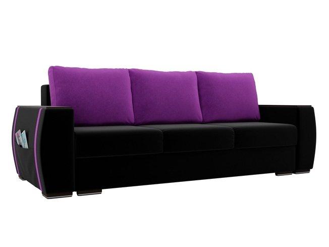 Диван-кровать Брион, черный/фиолетовый/микровельвет фото