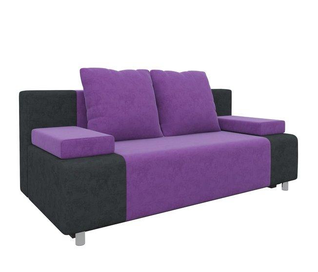 Диван-кровать Шарль, фиолетовый/черный/микровельвет фото