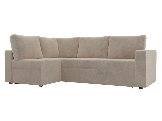 Угловой диван-кровать левый Оливер, бежевый/велюр фото