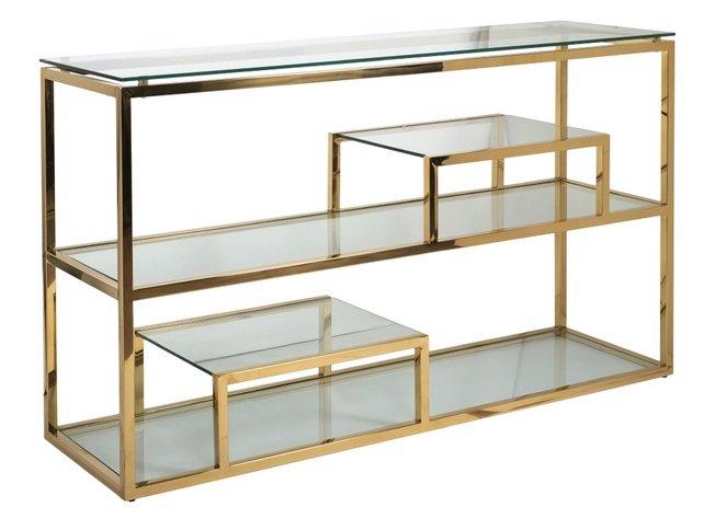 Консоль прозрачное стекло/золото GY-CST8005GOLD фото