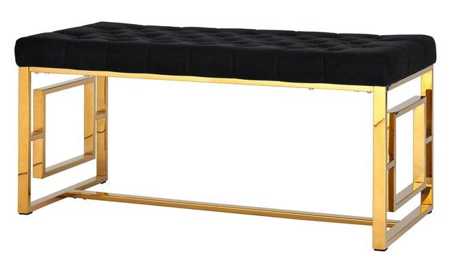 Банкетка-скамейка Бруклин, золото/черный вельвет фото