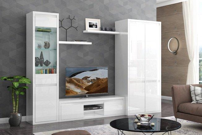 Стенка в гостиную Норден со шкафом, белый глянец фото