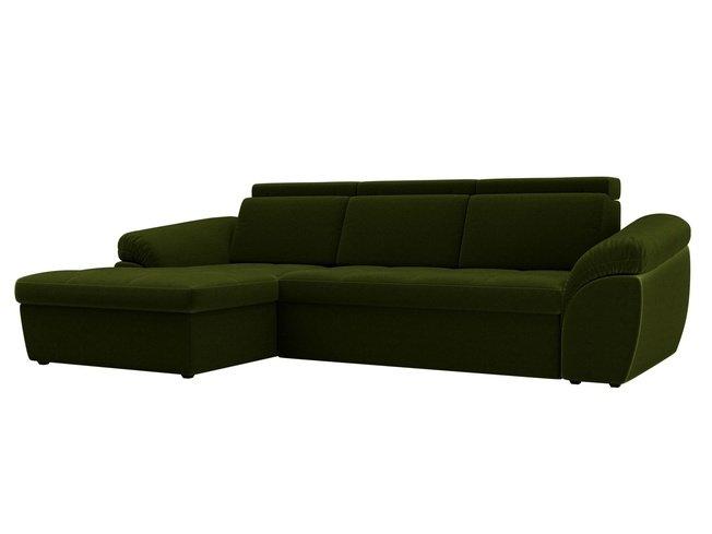 Угловой диван-кровать левый Мисандра, зеленый/микровельвет фото
