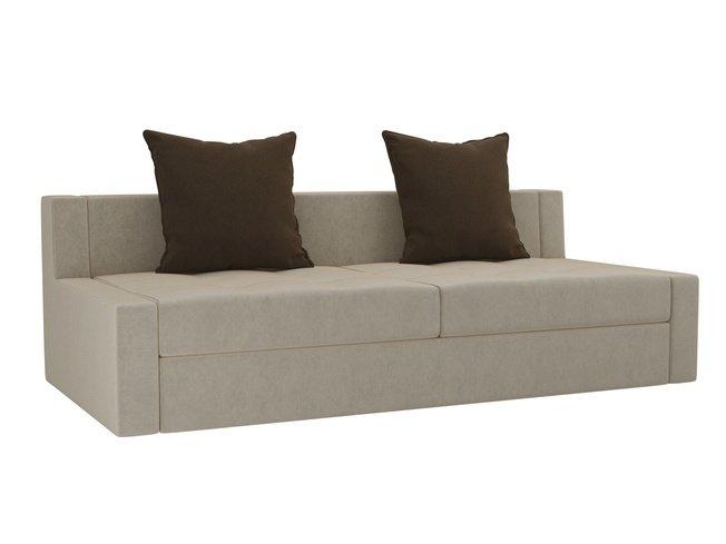 Диван-кровать Мартин, бежевый/коричневый/микровельвет фото