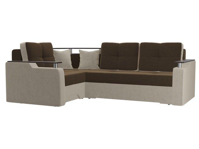 Угловой диван-кровать левый Комфорт, коричневый/бежевый/микровельвет фото