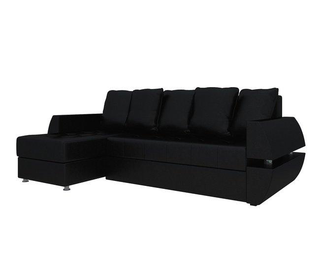 Угловой диван-кровать левый Атлантида У/Т, черный/экокожа фото