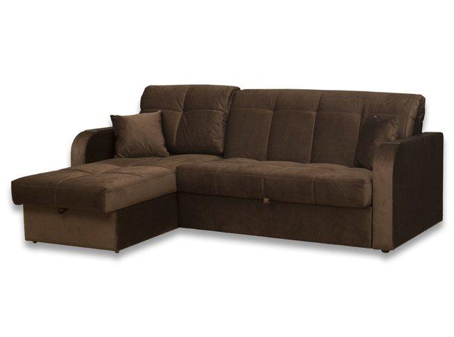МК Ева / Угловой диван-аккордеон Амиго с ящиком 1250 БНП, коричневый велюр