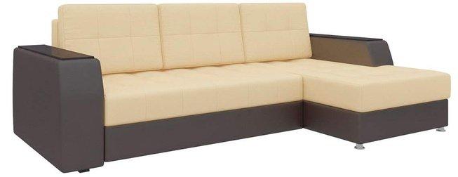Угловой диван-кровать правый Эмир Б/С, бежевый/коричневый/экокожа фото
