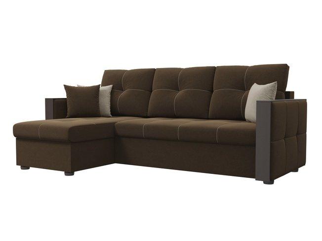 Угловой диван-кровать левый Валенсия, коричневый/микровельвет фото