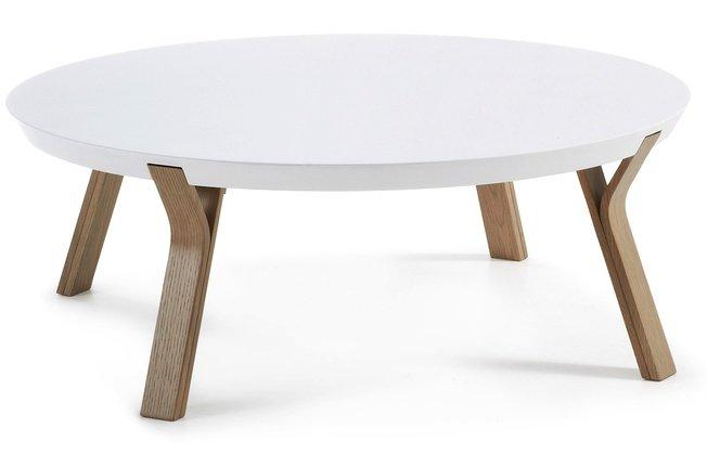 Журнальный столик Solid, белый матовый/светло-коричневый фото