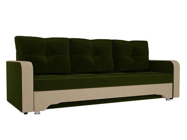 Диван-кровать Ник-3, зеленый/бежевый/микровельвет фото