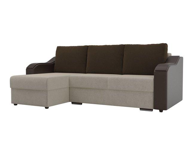 Угловой диван-кровать левый Монако, бежевый/коричневый/коричневый/микровельвет/экокожа фото