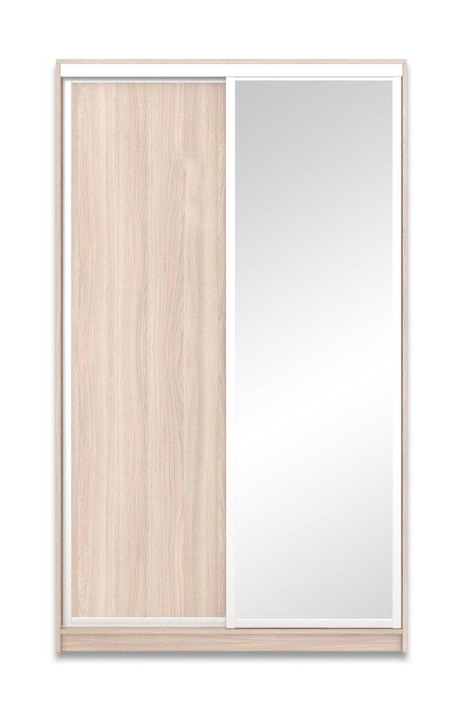 Шкаф-купе Юпитер 2-дверный с зеркалом 1400 (глубина 600, высота 2400), ясень светлый фото