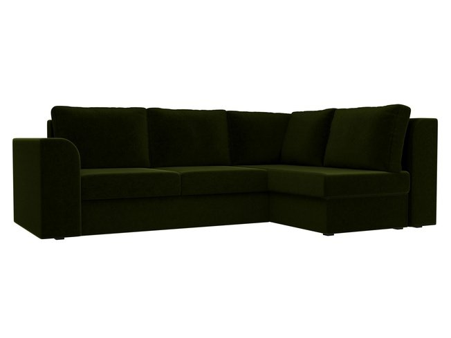Угловой диван-кровать правый Пауэр, зеленый/микровельвет фото
