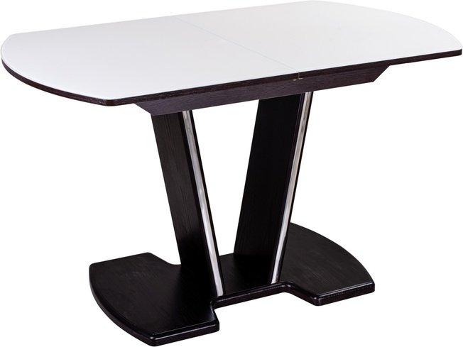 Стол обеденный раздвижной Танго ПО-3, венге/белое стекло фото