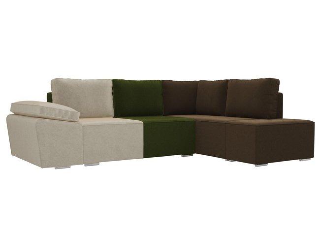 Угловой диван-кровать правый Хавьер, бежевый/зеленый/коричневый/микровельвет фото