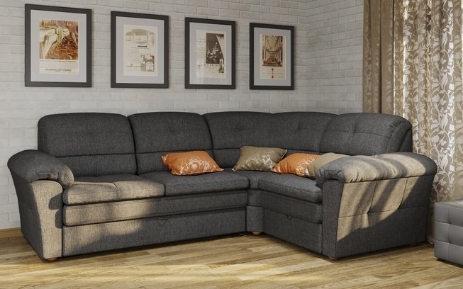 Угловой диван Диаманте-А с ящиком правый, серый фото
