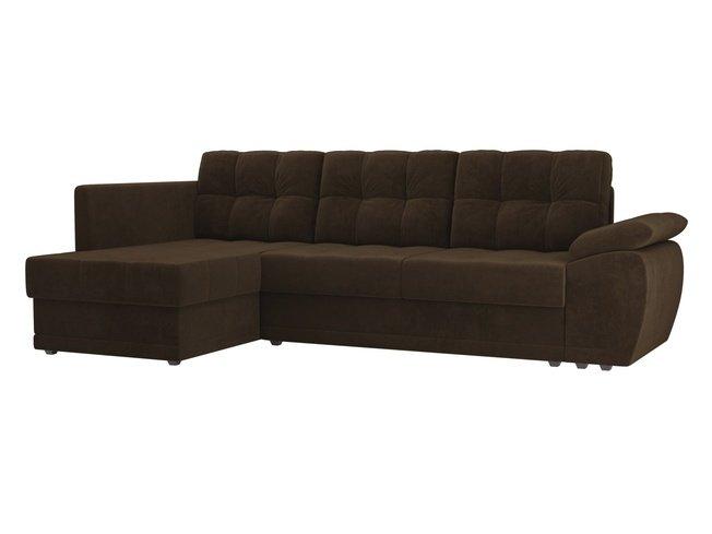 Угловой диван-кровать левый Нэстор прайм, коричневый/велюр фото