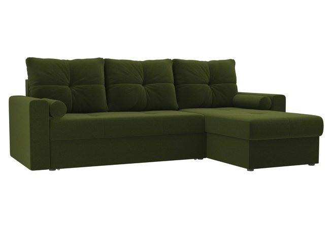 Угловой диван-кровать правый Верона, зеленый/микровельвет фото